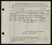 Entry card for Mosgo, Ethel G. for the 1947 May Show.