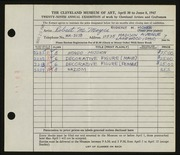 Entry card for Moyer, Robert M. for the 1947 May Show.