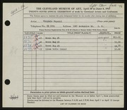 Entry card for Nepodal, Virginia for the 1947 May Show.