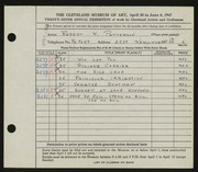 Entry card for Patterson, Robert W. for the 1947 May Show.
