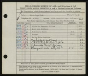 Entry card for Peck, Edith Hogen for the 1947 May Show.