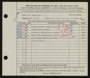 Entry card for Peck, James Edward for the 1947 May Show.