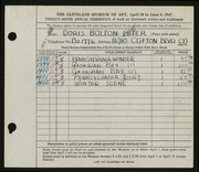 Entry card for Peter, Doris Bolton for the 1947 May Show.