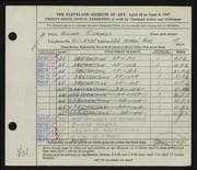 Entry card for Richards, William for the 1947 May Show.