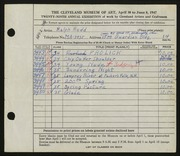 Entry card for Rudd, Ralph for the 1947 May Show.