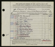 Entry card for Samson, Daniel I. for the 1947 May Show.