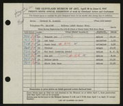 Entry card for Sawhill, Richard for the 1947 May Show.