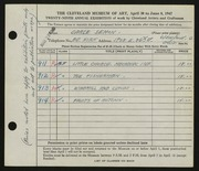 Entry card for Semon, Carle Edwin for the 1947 May Show.
