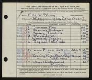 Entry card for Shaw, Elsa Vick for the 1947 May Show.