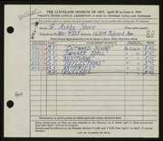 Entry card for Short, G. Ashby for the 1947 May Show.