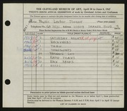 Entry card for Sloane, Phyllis for the 1947 May Show.