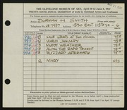 Entry card for Smith, Dorman H. (Dorman Henry) for the 1947 May Show.