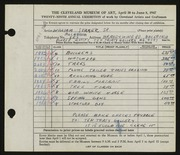 Entry card for Sommer, William for the 1947 May Show.