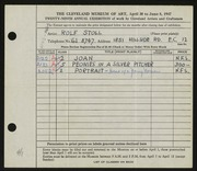 Entry card for Stoll, Rolf for the 1947 May Show.