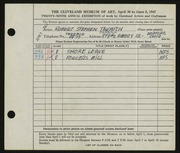 Entry card for Takatch, Robert for the 1947 May Show.