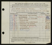 Entry card for Janicki, Hazel for the 1947 May Show.