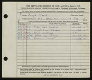 Entry card for Tholl, Joseph for the 1947 May Show.
