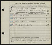 Entry card for Thomas, Florence Todd for the 1947 May Show.