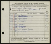 Entry card for Trauger, John F. for the 1947 May Show.