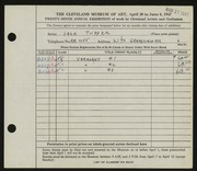 Entry card for Tupper, Jack for the 1947 May Show.