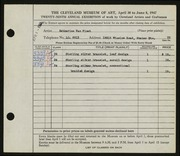 Entry card for Van Fleet, Katharine for the 1947 May Show.