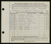 Entry card for Ward, William E. for the 1947 May Show.