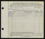Entry card for Weiser, Raymond T., and Miller, Frederick Anson for the 1947 May Show.