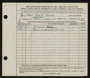 Entry card for Wilson, David Philip for the 1947 May Show.