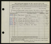 Entry card for Wooddell, Joseph M. for the 1947 May Show.