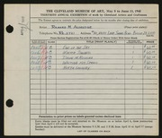 Entry card for Aldridge, Richard M. for the 1948 May Show.