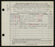 Entry card for Anliker, Roger William for the 1948 May Show.