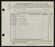Entry card for Baker, Sylvia for the 1948 May Show.