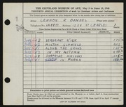 Entry card for Bandel, Lennon R. for the 1948 May Show.