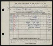 Entry card for Barnes, Virginia R. for the 1948 May Show.