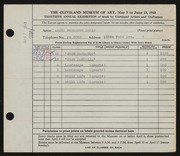 Entry card for Batie, James Bankston for the 1948 May Show.