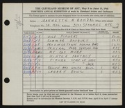 Entry card for Bohdal, Jeannette Antonia for the 1948 May Show.