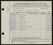 Entry card for Bookatz, Samuel for the 1948 May Show.