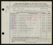 Entry card for Boyer, Betty for the 1948 May Show.