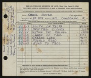 Entry card for Butnik, Samuel for the 1948 May Show.