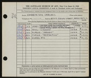 Entry card for Caldwell, Kenneth Roy for the 1948 May Show.