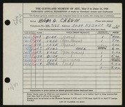 Entry card for Chegin, Hilda G. for the 1948 May Show.