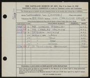 Entry card for Combes, Willard Wetmore for the 1948 May Show.