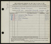 Entry card for Cykowski, Beulah Osborn for the 1948 May Show.