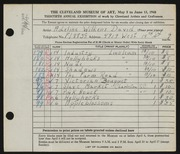 Entry card for David, Adeline Wilkens for the 1948 May Show.
