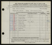 Entry card for Davidson, Myron Russell for the 1948 May Show.