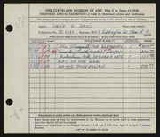 Entry card for Davis, David E. for the 1948 May Show.