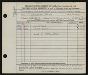 Entry card for Davis, Thelma Gilbert, and Pottery Studio for the 1948 May Show.