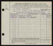 Entry card for De Marco, Marco for the 1948 May Show.