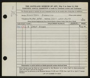 Entry card for Dobrotka, Anna Jean C. for the 1948 May Show.