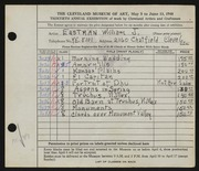 Entry card for Eastman, William Joseph for the 1948 May Show.